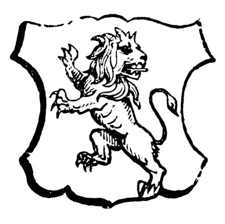 Lion Rampant Regardant is an animal looking towards the sinister side of the shield, vintage line drawing or engraving illustration. Illustration