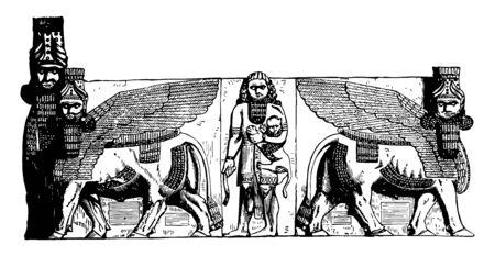 Gateway at Khorsabad, Egypt,  Sculpture, winged bull,  vintage line drawing or engraving illustration. 向量圖像