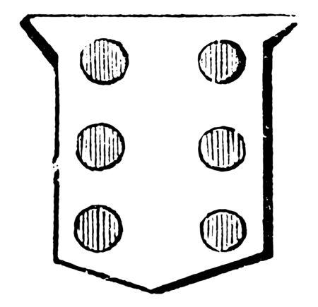 Six Roundlets are properly expressed, vintage line drawing or engraving illustration. Ilustração