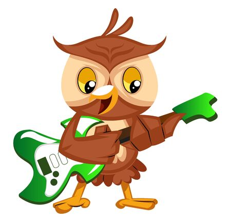 Owl playing guitar, illustration, vector on white background. Иллюстрация