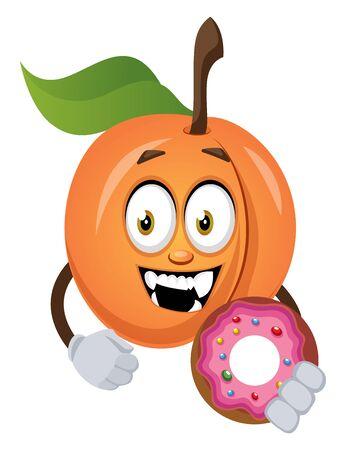 Apricot holding donut, illustration, vector on white background.