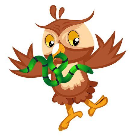 Owl with snake, illustration, vector on white background.