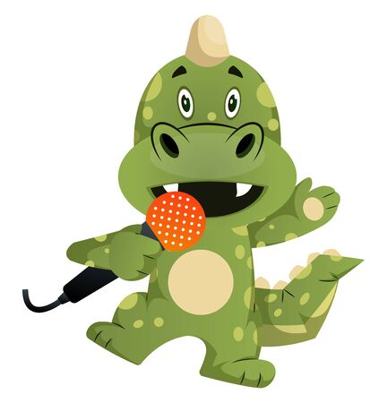 Green dragon is singing, illustration, vector on white background.