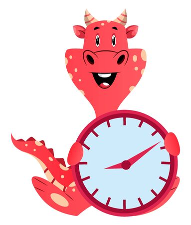 Red dragon is holding a clock, illustration, vector on white background. 向量圖像