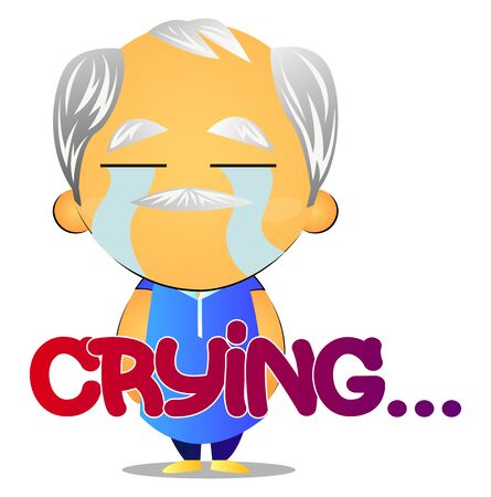 Old man crying, illustration, vector on white background.
