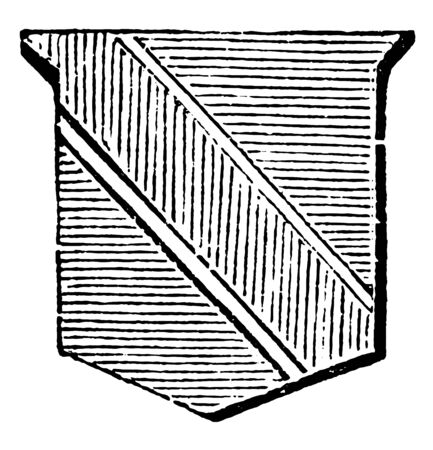 Bend Fimbriated is an ordinary having a border of a different tincture, vintage line drawing or engraving illustration.