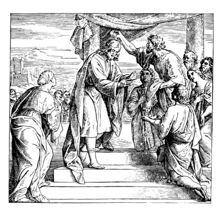 David Anointed King Over Israel, this scene shows an old man holding horn of oil and applying oil on head of king, and other people looking at them, vintage line drawing or engraving illustration Vettoriali