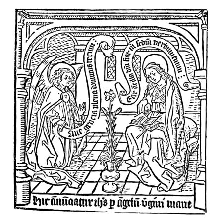 A female sitting with a book and an angel appears in front of her, vintage line drawing or engraving illustration Illustration