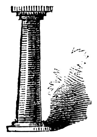 Pillar, stone, wood, metal, building, ornament, monument, vintage line drawing or engraving illustration. 向量圖像