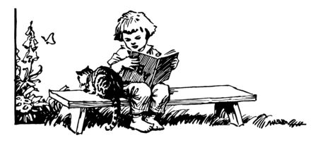 Girl Sitting on Bench Reading Book with Cat, child, female, garden, kid, kitten, kitty, read, upside down, vintage line drawing or engraving illustration.