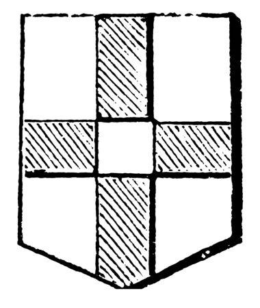 Cross Quarter-Pierced was originally blazoned, vintage line drawing or engraving illustration.