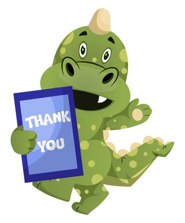Green dragon is holding thank you sign, illustration, vector on white background.