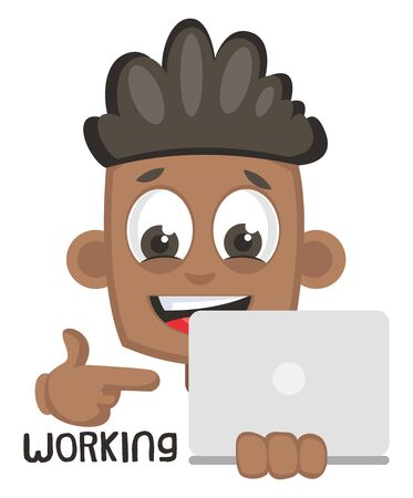 Boy working on lap top, illustration, vector on white background.