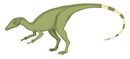 Compsognathus, illustration, vector on white background. Ilustração