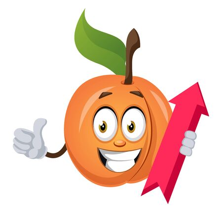 Apricot with arrow sign, illustration, vector on white background.