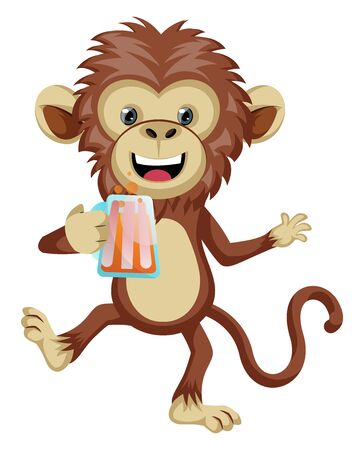 Monkey with beer, illustration, vector on white background. Illustration