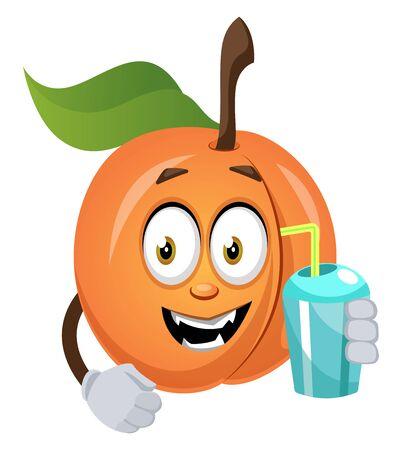 Apricot with water, illustration, vector on white background. Ilustração