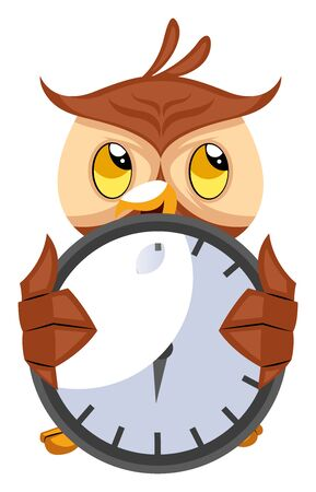 Owl with big clock, illustration, vector on white background.