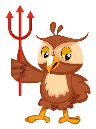 Owl with devil fork, illustration, vector on white background.