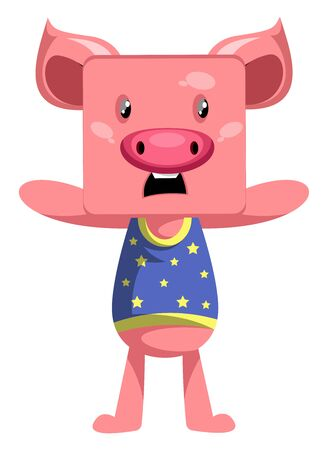 Confused piggy, illustration, vector on white background. Vettoriali