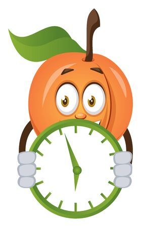 Apricot with clock, illustration, vector on white background.