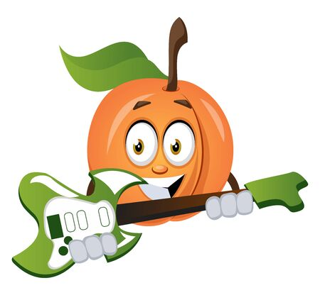 Apricot playing guitar, illustration, vector on white background.
