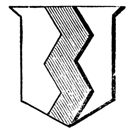Dancette is a zig-zag figure with spaces between the points, vintage line drawing or engraving illustration.