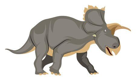 Triceratops, illustration, vector on white background.