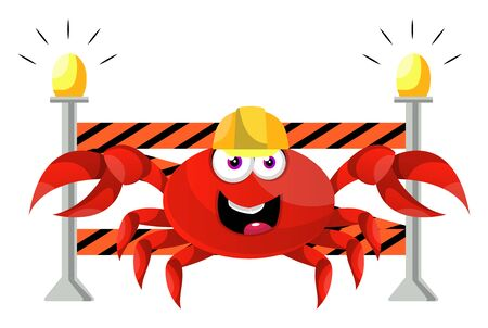 Crab on construction yard, illustration, vector on white background.