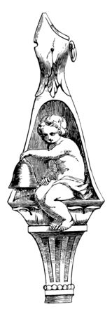 Sculpture represents an infant ringing a bell, vintage line drawing or engraving illustration.  イラスト・ベクター素材