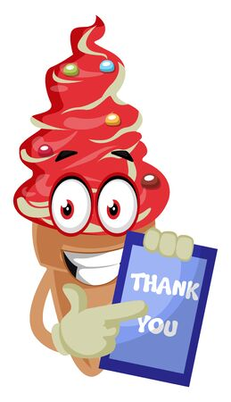 Ice cream with thank you sign, illustration, vector on white background. Banque d'images - 132794417