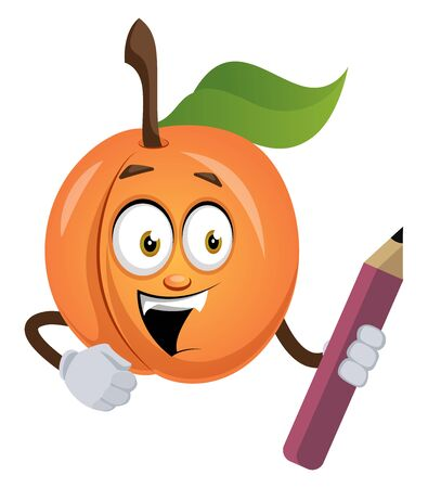 Apricot with pen, illustration, vector on white background.