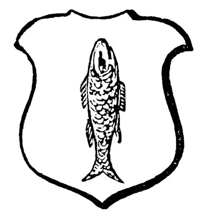 Haurient have a fish in a perpendicular direction, vintage line drawing or engraving illustration. Çizim