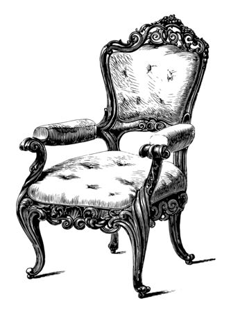 Chair carved from locust wood has fine inclined legs and carving around the center seat, top and bottom of backrest, vintage line drawing or engraving illustration
