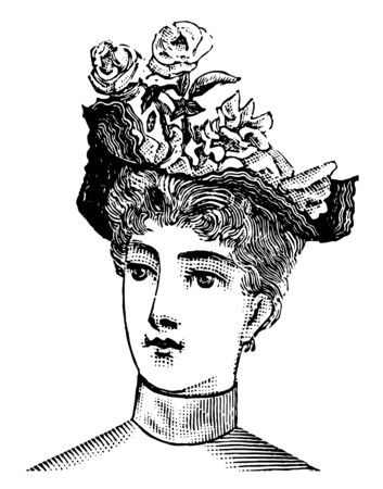 Floral Hat is has a curved had, vintage line drawing or engraving illustration.  イラスト・ベクター素材