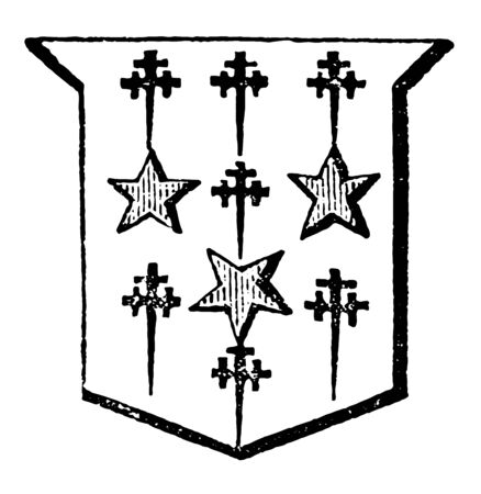 Mullets and Cross Crosslets are part of an escutcheon between the chief and the base, vintage line drawing or engraving illustration. Иллюстрация