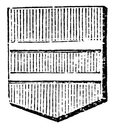 Shield Showing Barrulet is frequently used to describe double bars, vintage line drawing or engraving illustration. 向量圖像