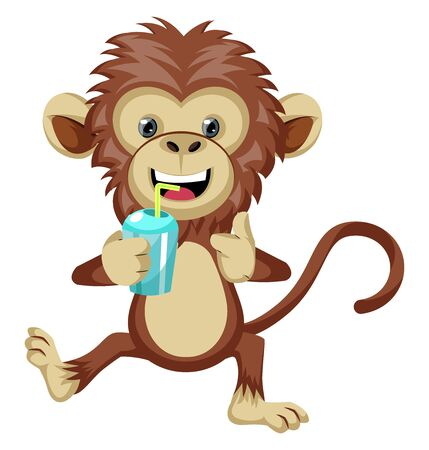 Monkey with soda, illustration, vector on white background.