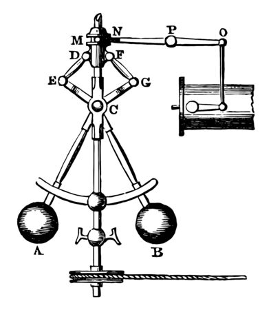 This illustration represents Electric Governor which device for automatically regulating the amount of power developed in a machine, vintage line drawing or engraving illustration.