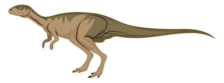 Dinosour with long tail, illustration, vector on white background.