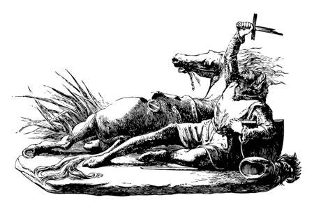 Marmion Sculpture est une scène tirée du poème Marmion de Sir Walter Scott, dessin au trait vintage ou illustration de gravure.
