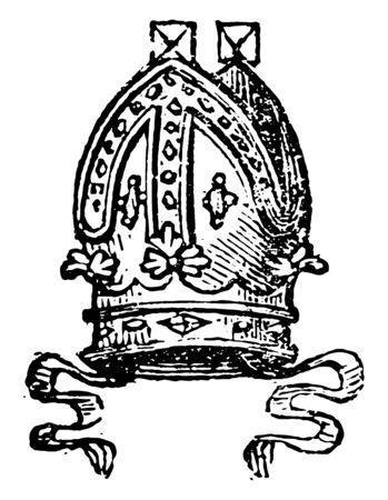 Mitre are worn by Roman Catholic archbishops, vintage line drawing or engraving illustration.