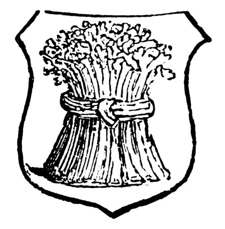 Garbe is a heraldic term for a sheaf of any kind of corn, vintage line drawing or engraving illustration.