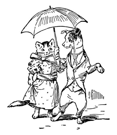 Dog & Cat Dressed with Umbrella, this scene shows a cat and dog in human dresses and walking under umbrella, vintage line drawing or engraving illustration Ilustrace