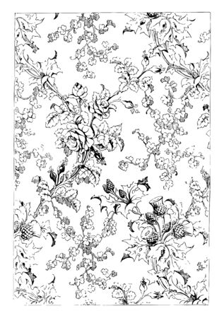 Silk fabric shows a pattern of rose, it also used shamrock and thistle, vintage line drawing or engraving illustration. Vettoriali