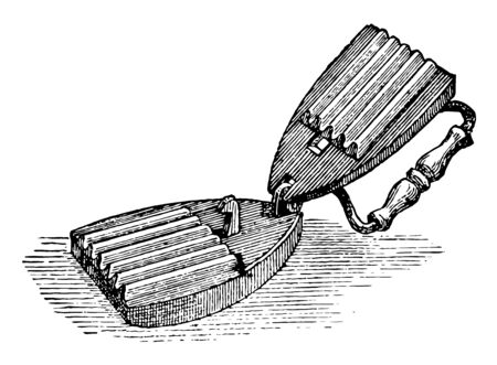 Fluting Iron is a device for making flutes in a fabric or article of dress, its as a ruffle, vintage line drawing or engraving illustration. Ilustração