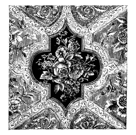 Rug is made out of velvet in a floral engraved pattern, it is a generally no bigger than a single room, vintage line drawing or engraving illustration.