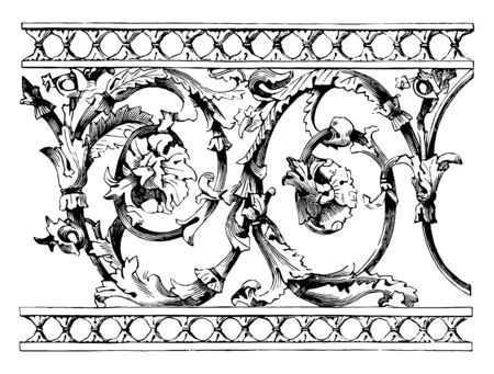 Balustrade, railing, ornamental parapet, moulded, vintage line drawing or engraving illustration.