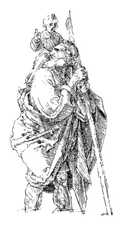 St. Christopher by German artist Albrecht Dürer is widespread in the Western Church and monasteries were named after him by the 7th century, vintage line drawing or engraving illustration. Ilustração
