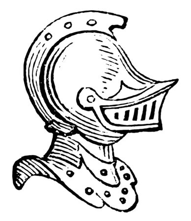 Helmet with Beaver are part of the helmet that defends the sight, vintage line drawing or engraving illustration.